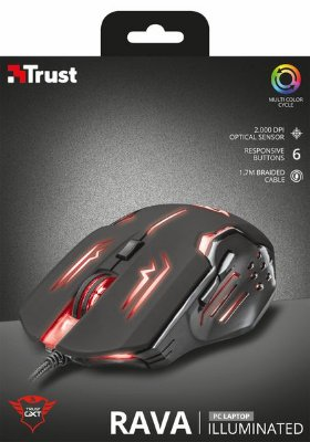MOUSE GAMER TRUST GXT 108 RAVA, 2000DPI, MULTICOLOR