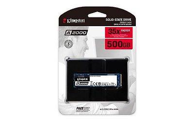 SSD KINGSTON A2000 500GB, M.2 NVMe, LEITURA 2200MB/s, GRAVAÇÃO 2000MB/s - SA2000M8/500G