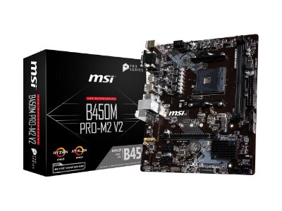 PLACA MÃE MSI B450M PRO-M2 V2, AMD AM4, DDR4, MICRO ATX