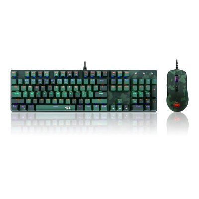 KIT TECLADO E MOUSE GAMER REDRAGON ESSTENIALS S108, PT-LIGHT GREEN