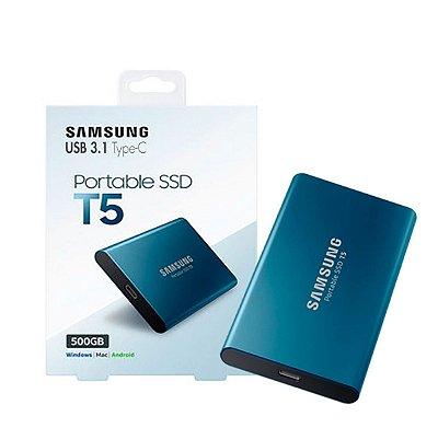 SSD EXTERNO SAMSUNG PORTÁTIL T5, 500GB, USB 3.1, 540 MB/s, AZUL - MU-PA500B/AM
