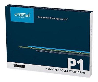 SSD CRUCIAL P1 1TB, NVMe M.2 2280, LEITURA 2000MB/s, GRAVAÇÃO 1700MB/s - CT1000P1SSD8