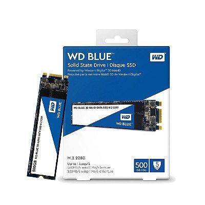 SSD WD BLUE M.2 2280 500GB, LEITURA 560MB/s, GRAVAÇÃO 530MB/s - WDS500G2B0B