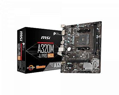 PLACA MÃE MSI A320M-A PRO MAX, AMD AM4,DDR4, TURBO M.2