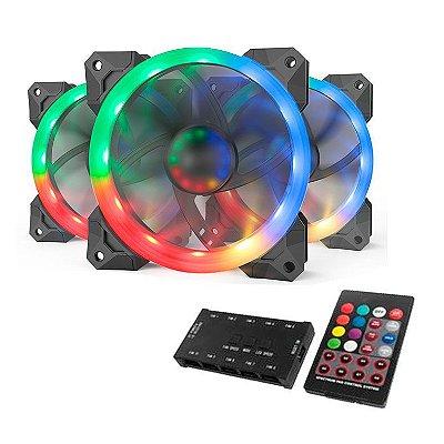 KIT VENTOINHA REDRAGON RGB 3X120MM C/ CONTROLE - GC-F008