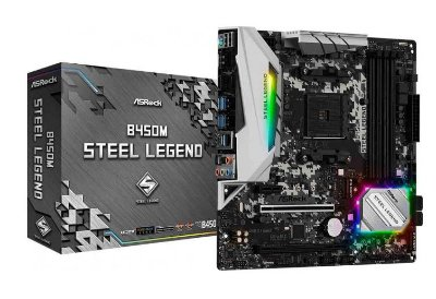 PLACA MÃE ASROCK B450M STEEL LEGEND, CHIPSET B450, AMD AM4, MATX, DDR4