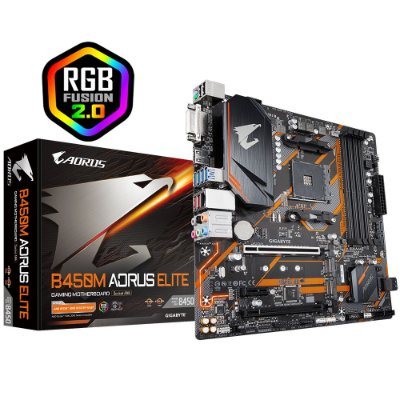 PLACA MÃE GIGABYTE B450M AORUS ELITE, CHIPSET B450, AMD AM4, MATX