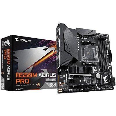 PLACA-MÃE GIGABYTE B550M AORUS PRO, AMD AM4, MICRO ATX, DDR4
