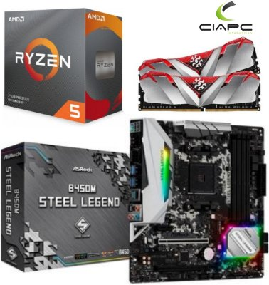 KIT UPGRADE B450M STEEL LEGEND + PROCESSADOR RYZEN 5 3600 + 16GB DDR4 XPG GAMMIX D30