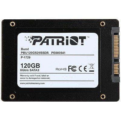 SSD PATRIOT BURST, 120GB, SATA III, LEITURA 555MBS E GRAVAÇÃO 500MBS - PE000541-PBU120GS25SSDR