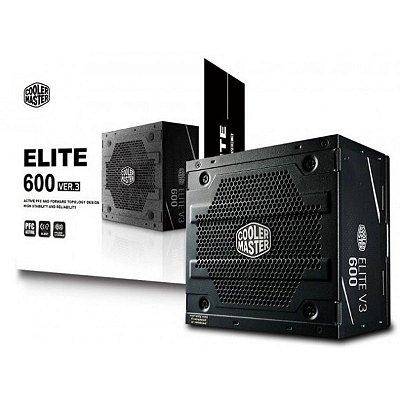 FONTE COOLER MASTER ELITE V3 600W, PFC ATIVO, ATX - MPW-6001-ACAAN1-WO