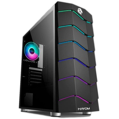 GABINETE HAYOM GAMER RGB COM LATERAL EM ACRÍLICO, S/FAN - GB1711