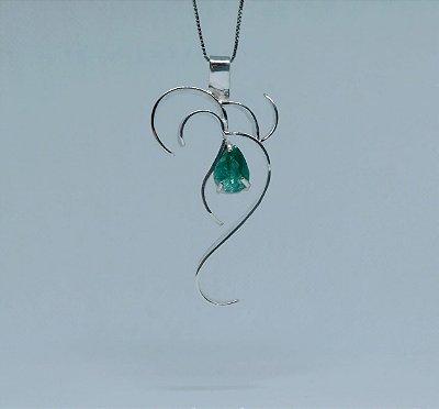 38af71a92eb Pingente Sabedoria com Cristal Verde em prata 950 - banhado a Sódio