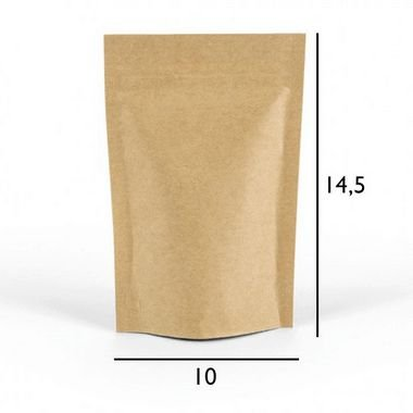 Saco Kraft Stand Up Pouch - Fecho Zip - 10 x 14.5