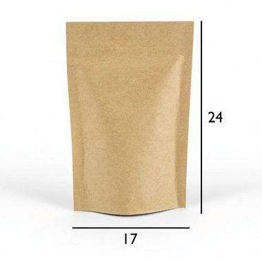 Saco Kraft Stand Up Pouch - Fecho Zip - 17 x 24