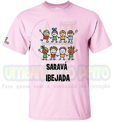 Camiseta Saravá Ibejada (Azul / Rosa)