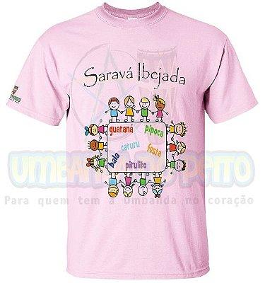 Camiseta Festa de Cosme e Damião (Azul / Rosa)