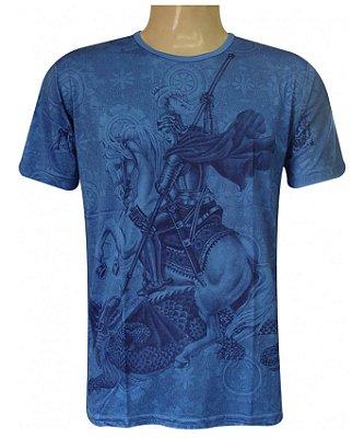 Camiseta Azul Oração São Jorge Viscose
