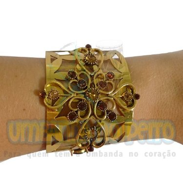 Bracelete Mandala Corações (Dourado / Marrom)