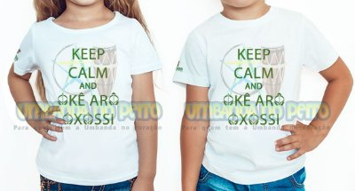Camiseta Infantil Keep Calm and Okê Arô Oxossi