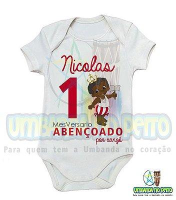 Body MesVersario Xangô Kids + Nome do Bebê