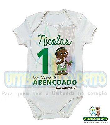 Body MesVersario Oxumaré Kids + Nome do Bebê
