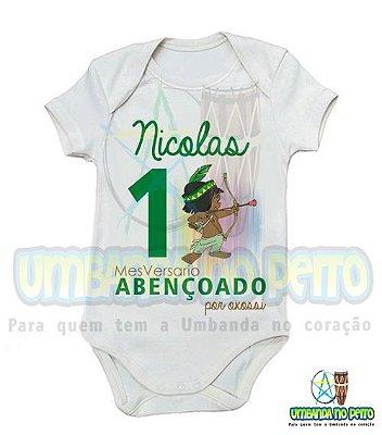 Body MesVersario Oxossi Kids + Nome do Bebê