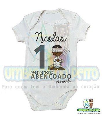 Body MesVersario Oxalá Kids + Nome do Bebê