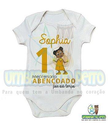 Body MesVersario Oiá Tempo Kids + Nome do Bebê