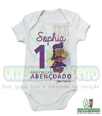 Body MesVersario Nanã Kids + Nome do Bebê