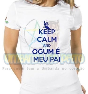 Baby Look Keep Calm and Ogum é Meu Pai