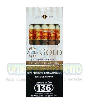 Cigarrilha Alonso Menendez Gold com piteira (maço c/5)