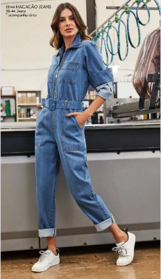 Macacão Jeans Manga Longa