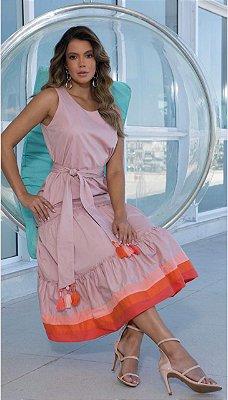 Vestido Tricoline Rose