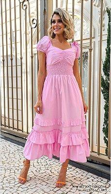 Vestido Tricoline Rosa - Pré Venda