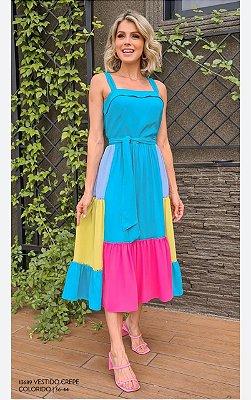 Vestido Crepe Colorido