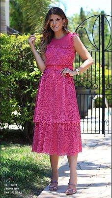 Vestido Tule Renda Pink