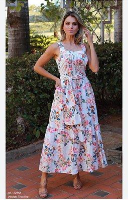 Vestido Tricoline Floral