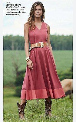 Vestido Crepe Rose