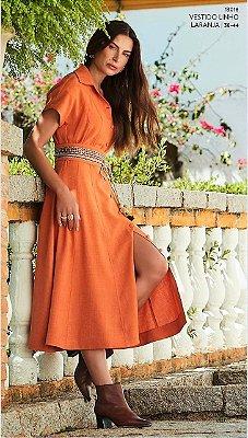 Vestido Linho Laranja