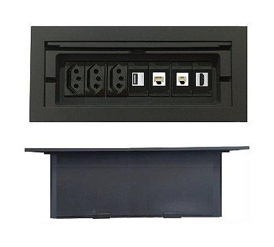Caixa Tomada Para Mesas 7 Módulos Completa - DM07-M3