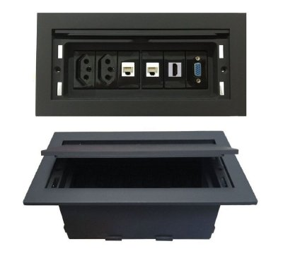Caixa de Tomadas Para Mesas Reuniões Completa - QMF6-M1