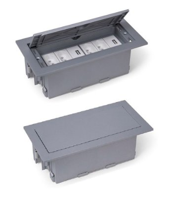 Caixa De Tomadas Para Mesa Com Carregador USB 2A