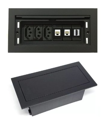 Caixa Tomada De Conexões Para Mesas Completa - QMF6-M3