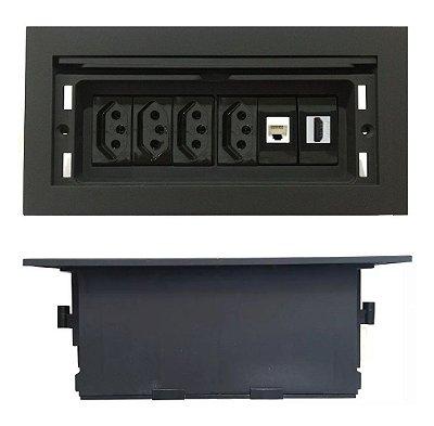 Caixa Tomada Com Multi Conexões  Para Mesas - QMF6-M4
