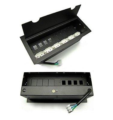 Caixa de Tomadas + Espaços Para Multi Conexões DMEX14-M