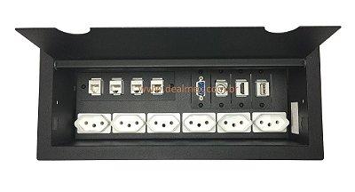 Caixa Tomada Para Mesas Com Mult Conexões - DMEX14-M1
