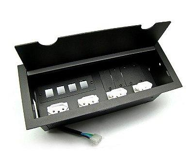 Caixa de Tomada Para Mesas DMEX12-M Com 4 Tomadas + Espaços
