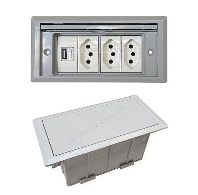 Tomada Para Embutir Em Mesas, 3 Tomadas, USB Carregador - QMF5-M15
