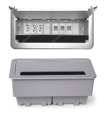 Caixa De Tomada Para Mesas Alumínio Escovado - QM26-M10